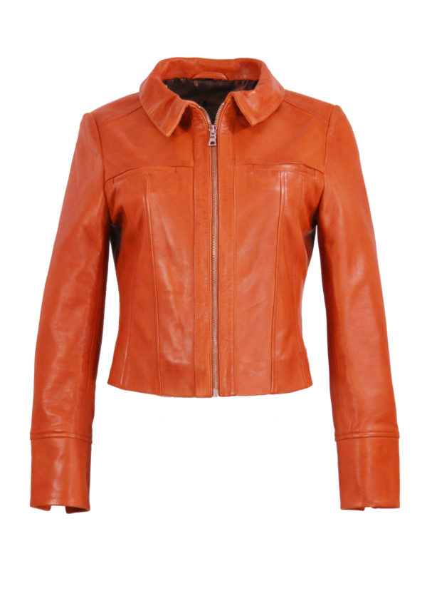 Zoef Leather Jasje Olivia Oranje 1