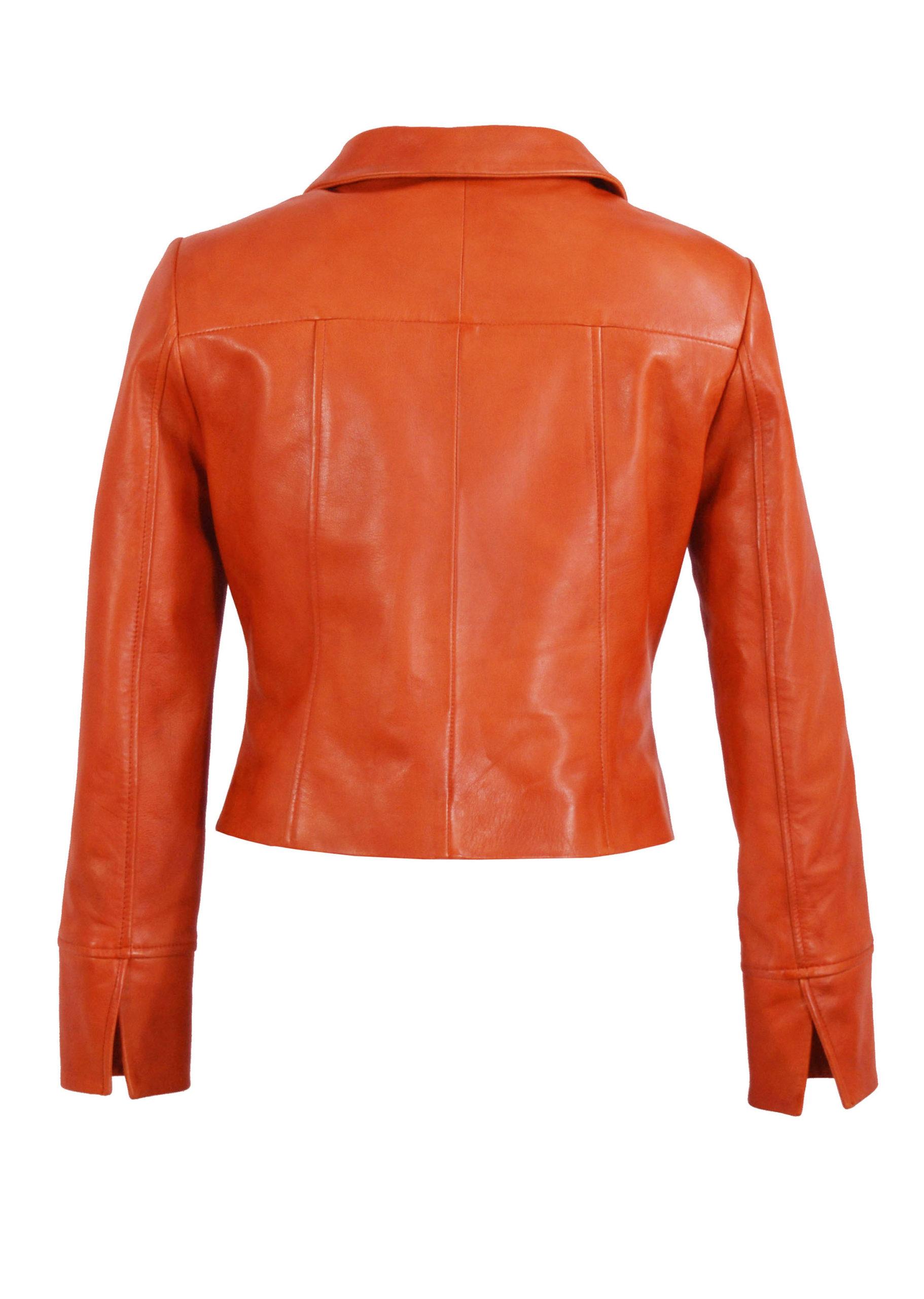 Zoef Leather Jasje Olivia Oranje 2
