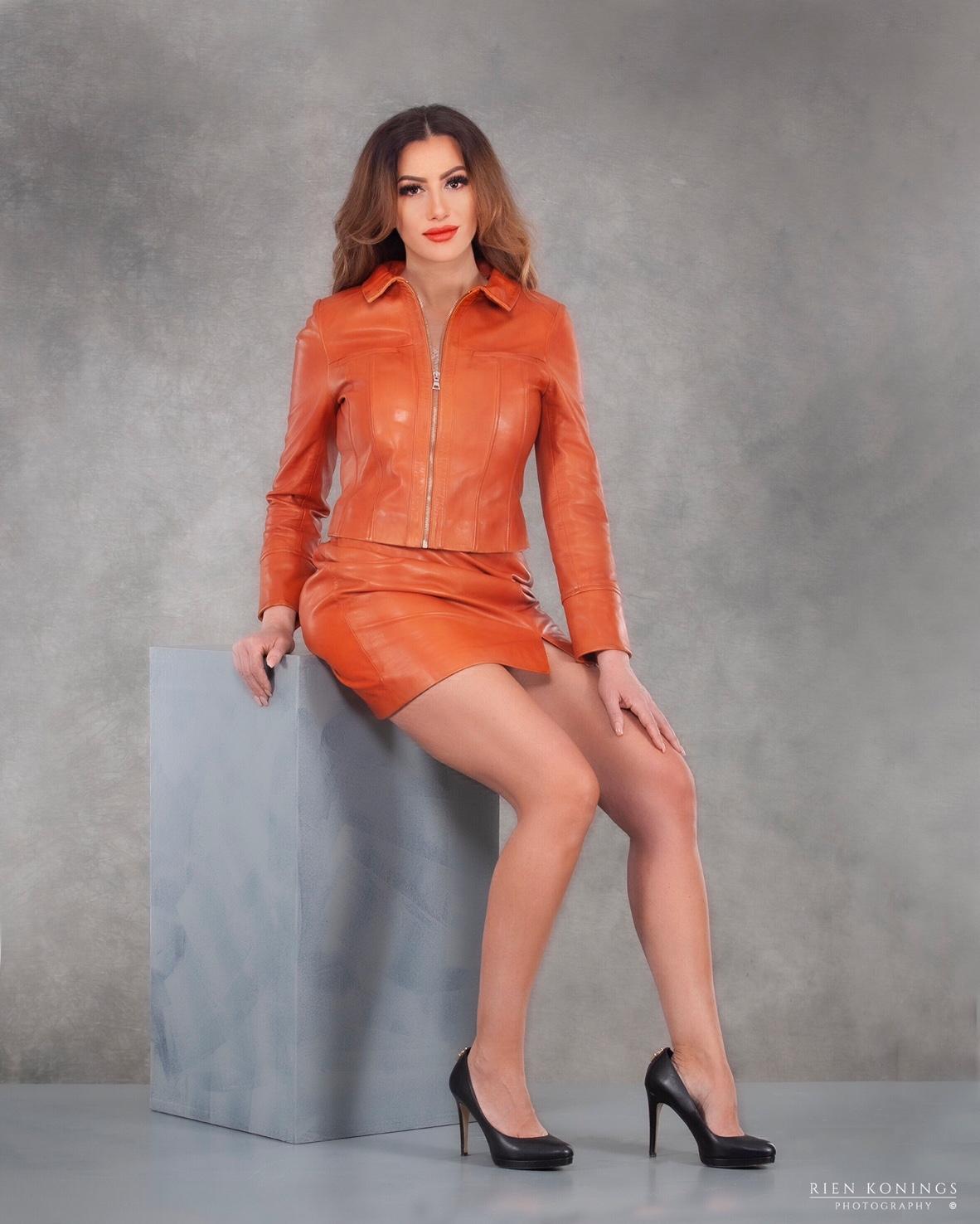 Zoef Leather Jasje Olivia Oranje 5