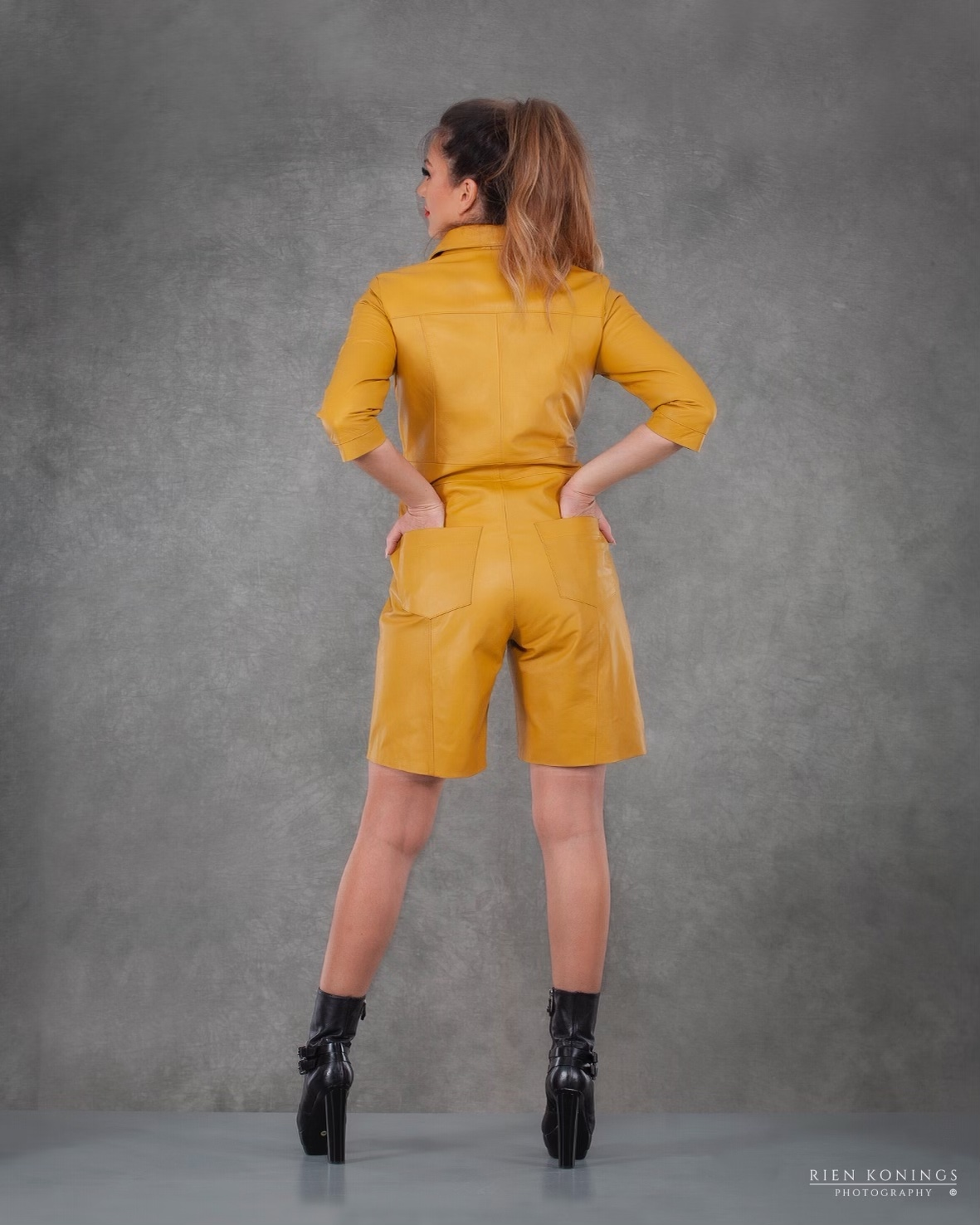 Zoef Leather Jumpsuit Mia Yellow 4