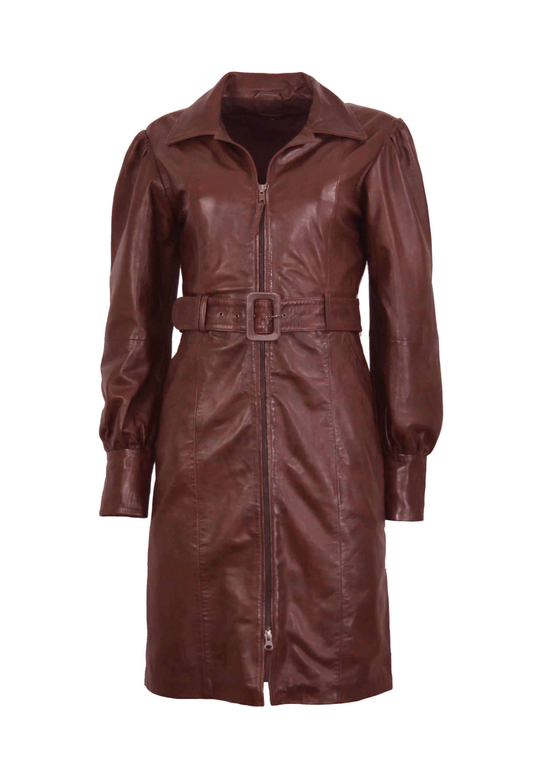 Zoef Leather Jurk Monica Aubergine 1