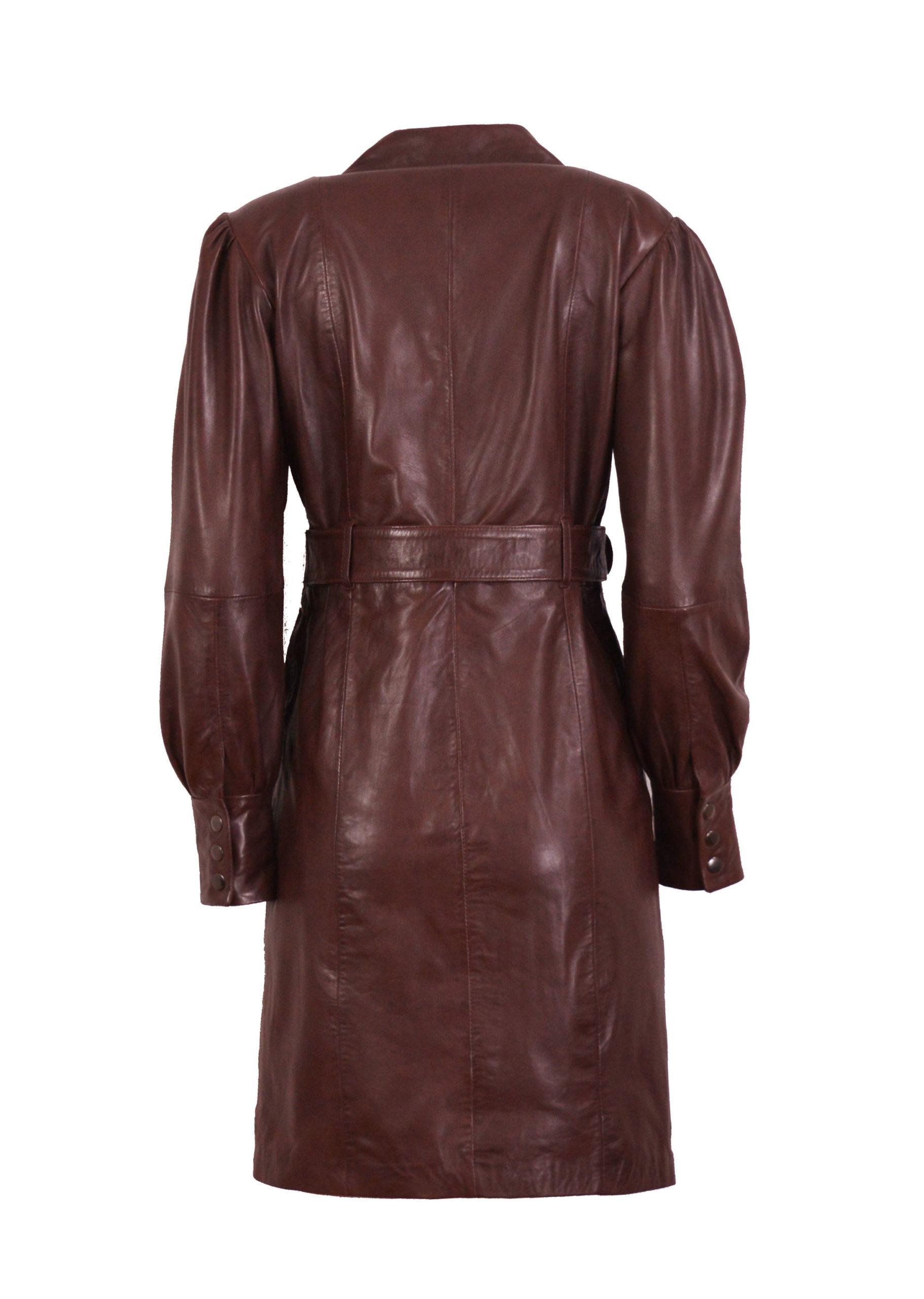 Zoef Leather Jurk Monica Aubergine 2
