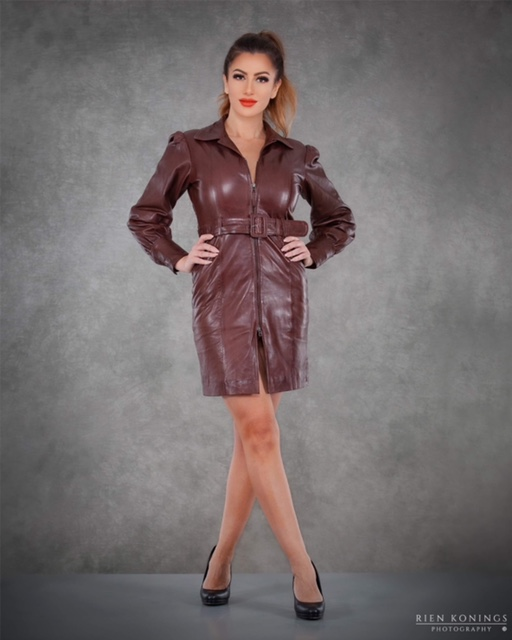 Zoef Leather Jurk Monica Aubergine 5