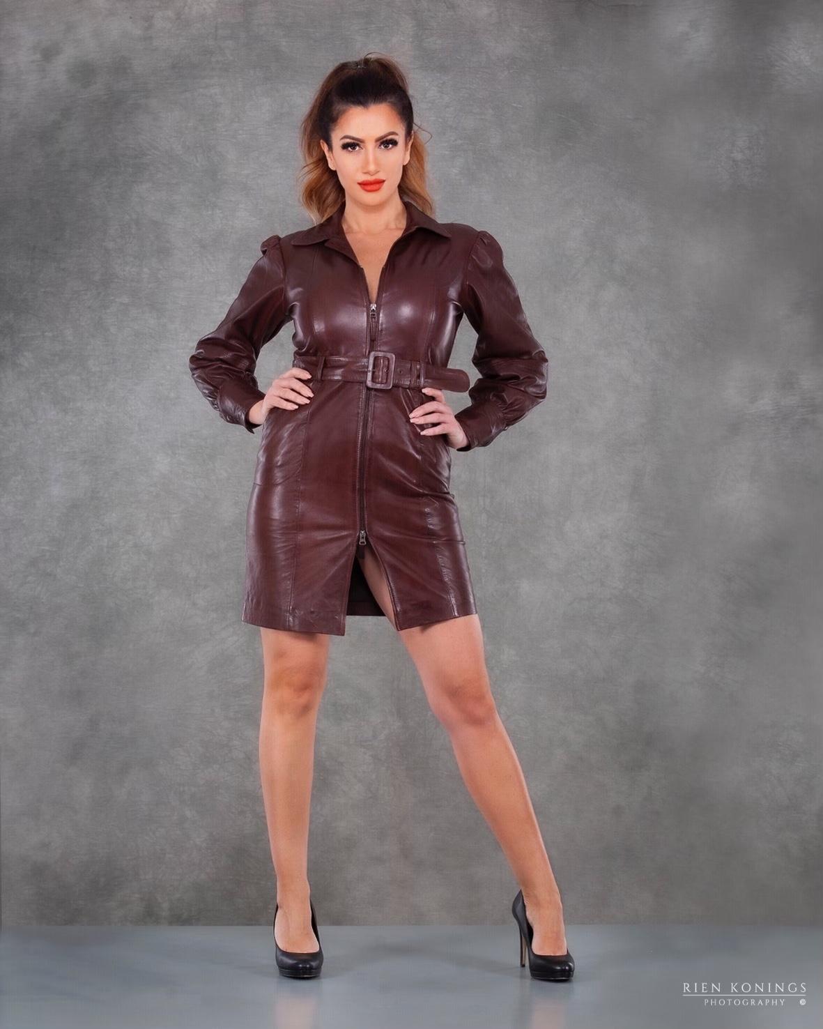 Zoef Leather Jurk Monica Aubergine 6